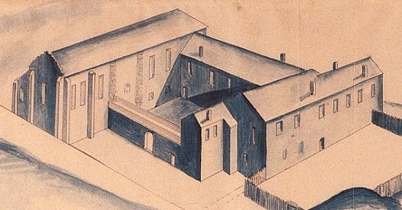Byggmästare Flemings perspektivritning över Jönköpings slott från år 1605. Att huskropparna en gång utgjort ett kloster syns fortfarande.