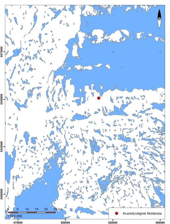 Kvartsfyndigheten i Sköllersta i förhållande till strandlinjen 5000 f.  Bakgrundskarta: SGU